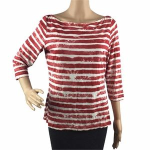 Worth Top Size L Red White Stripe Boat Neck 3/4 Sleeves